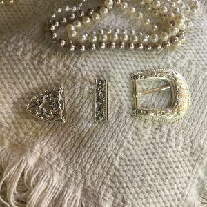 Accessories - Silver Tone Belt Buckle, Keeper & Tip